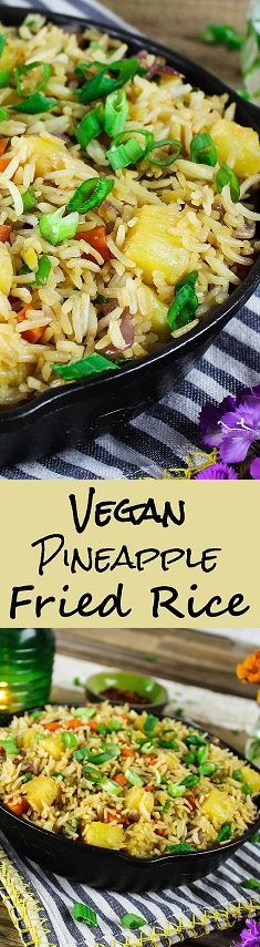 Are you looking to order some take-out tonight? Well, put that phone down because this homemade Pineapple Fried Rice is much healthier, tastier & uber-easy to make. C'mon over to Vegan Huggs for this sweet & savory recipe. #pineapplefriedrice #veganfood