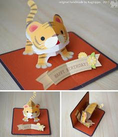 Pop Up Papercraft Pop Up Birthdaycard [tiger] original Handmade by Kagisippo 3d Cards, Folded Cards, Cards Diy, Tarjetas Diy, Kids Pop, Origami And Kirigami, Origami Lion, Pop Up Art, Paper Pop