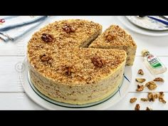 Egyptian walnut cake (CC Eng Sub) Romanian Desserts, Romanian Food, No Cook Desserts, Easy Desserts, Food Cakes, Cupcake Cakes, Cake Recipes, Dessert Recipes, Walnut Cake