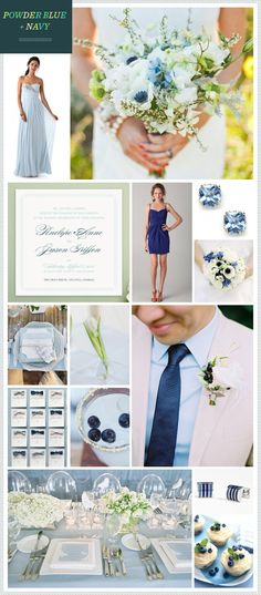 Powder Blue + Navy wedding inspiration... Love the colors. Maybe add some pink blush color?