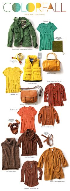 The Women's Fall Palette love the brights mixed in for fall--right up my alley! Fall Outfits, Casual Outfits, Cute Outfits, Capsule Wardrobe, Warm Autumn, Deep Autumn, Warm Spring, Fall Color Palette, Colour Palettes