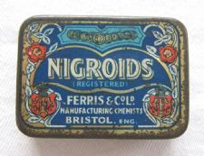 "zz Ferris & Co. (Bristol) ""Nigroids"" antique / vintage lozenge tin (early 20th century) (SOLD)"