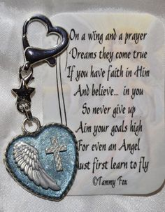 Key Chain/Purse Charm On A Wing And A Prayer by foxcreationsonline