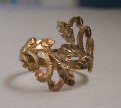 14kt GOLD Ring Leaf Design bypass l4k Yellow by GingerLilyVintage, $68.00