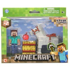Minecraft Steve with White Horse Action Figure: Saddle up with the Minecraft Steve and Horse Pack! These action figures are true to the element of the game and are perfect for any Minecraft fan. Pack includes: Steve, White Horse, Apple and Hay Block. Steve Minecraft, Minecraft Pack, Minecraft Video Games, Minecraft Stuff, Minecraft Toys Lego, Minecraft Room, Buy Lego, Minecraft Action Figures, Party