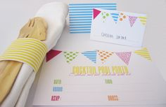 SUMMER BUNTING PARTY: Cocktail Parasoles / Cocktail  Flags / Cutlery Wraps / Delicious New Year's Invitation / Party Invitation / Tent Cards  Welcome Flags