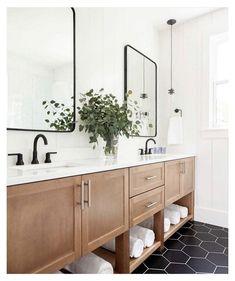 Black Tile Bathrooms, Upstairs Bathrooms, Dark Floor Bathroom, Hexagon Tile Bathroom Floor, Master Bathroom, Black Bathroom Vanities, Black And White Tiles Bathroom, Modern Bathroom Tile, Double Sink Bathroom