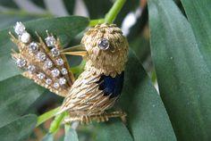 Diamond Bird Brooch Pin from Malak Jewelers