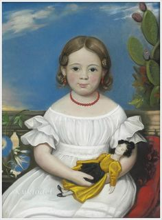 Girl in white dress with coral earrings and necklace, holding her doll.