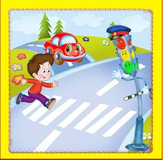 Road Safety Poster, Safety Posters, School Rhymes, Safety Rules For Kids, Transportation Theme Preschool, Painting Competition, Activity Sheets, Home Schooling, Toddler Activities