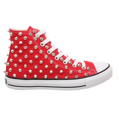 Holiday Promotion, Studded Converse Silver Cone with Converse Red high... (€78) ❤ liked on Polyvore featuring shoes, sneakers, converse, red shoes, high low tops, studded high top sneakers, vintage high top sneakers and red trainer