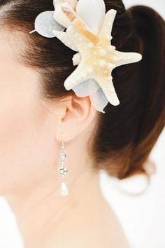 This particular one is a bit bigger than I would wear, but the idea would make a great hair piece.  I love to wear flowers, etc on a daily basis.  Michaels.com Wedding Department: Seaside Wedding Hair Piece Decorate your hair accessories to go with your wedding's theme to make it all come together!