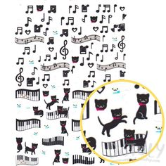 Kitty Cat Piano Music Quaver Notes Treble Clef Shaped A5 Sticker Sheet