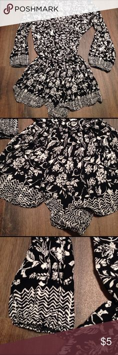 Olive Tree Black And White Romper Size S Thin Romper/cover up olive tree Tops