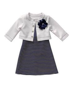 Navy Stripe Dress & White Cardigan - Infant, Toddler & Girls #zulily #zulilyfinds