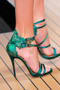 ~~Ermanno Scervino Spring 2014 ~ spruce green and satin with peacock detail~~