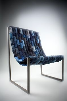 Denim Chair: Made from upcycled denim.