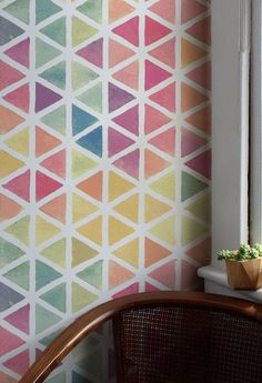 Temporary Wallpaper Removable Wall Decor Peel and Stick Geometric Wall Paint, Geometric Wallpaper, Fabric Wallpaper, Bedroom Wallpaper, Wall Wallpaper, Room Wall Painting, Diy Painting, Wall Painting Patterns, Paint Patterns