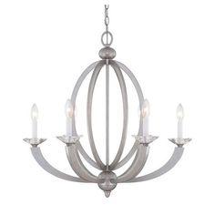 Savoy House Forum Silver Sparkle Six Light Chandelier On SALE