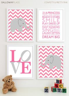 Baby Girl Nursery Art Prints Chevron Elephant Playroom Art Kids Girls Wall Art Room Decor Nursery Quotes Inspirational Playroom Rules 11x14 via Etsy