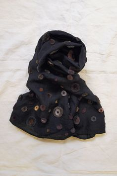 Sophie Digard Scarf - Pop  100% Linen / Hand Made / Size 21x58 inch / available in: Black - be sure to look at the close-up $420 and if the circles are all hand done, I can see why. Might be able to do applique instead.