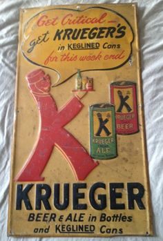 Krueger Tin Beer Sign