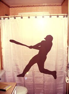 Baseball Shower Curtain Player Bathroom Decor For Kids