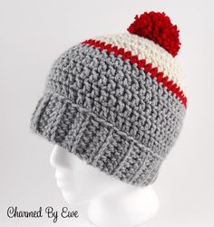There& something so right about the classic pompom crochet beanie, like the Ice Fishing Beanie. Worked in a simple stitch and featuring a classic fold-up ribbing and a little pompom at the very top of the hat, this crochet hat pattern is classic. Crochet Hat With Brim, Crochet Adult Hat, Bonnet Crochet, Crochet Beanie Pattern, Knitted Hats, Crochet Patterns, Crochet Man Hat, Mens Crochet Beanie, Crochet Hats For Boys