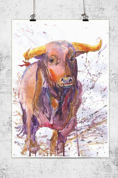 Hey, j'ai trouvé ce super article sur Etsy, chez https://www.etsy.com/fr/listing/198046819/bull-wildlife-watercolor-wall-decor