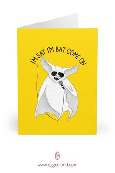 Bat singing Michael Jackson. Semi-glossy finish of these greeting cards adds a beautiful shine while the matching white envelopes create a complete package. This greeting card is from Animal Karaoke collection.