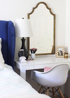 Tight on space? Have your vanity do a double duty and utilize the piece as a night time end table as well!