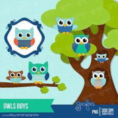 IMAGENES PARA FIESTAS DE TODO TIPO  OWLS BOYS  Digital Clipart ,Clipart  Owls / Instant Download via Etsy