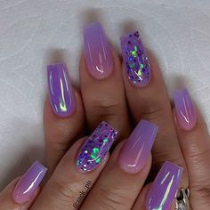 beste Ideen für Ihre Ombre-Nägel im Sommer - Nail Art Connect Nail Art Ideas to spice up your manicure - Esther Adeniyi There must be your favorite nail ideas in 140 classic nail designs. - Page 67 of 139 - Inspiration Diary Amazing nail arts Purple Acrylic Nails, Summer Acrylic Nails, Best Acrylic Nails, Purple Ombre Nails, Summer Nails, Purple Nail Art, Purple Nails With Glitter, Acrylic Nails With Glitter, Purple Nail Designs