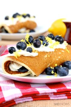 Blueberry and lemon pancake roll-ups