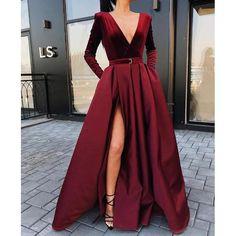 Burgundy V Neck Long Sleeves Side Slit Long Prom Dresses V-Neck Prom Dress, Burgundy Prom Dress, V-neck Prom Dress, Long Prom Dress, Prom Dress With Sleeves Prom Dresses Long Prom Dresses Long With Sleeves, Prom Dresses With Sleeves, Long Sleeve Gown, Long Sleeve Formal Dress, Long Slit Dress, Burgundy Dress Long Sleeve, Long Fancy Dresses, Long Dress For Prom, Long Sleeve Velvet Gown