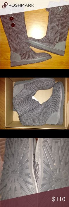 Ugg Classic Knitted Gray Boots The Ugg Australia Classic Carey fuses the coziness of your favorite sweater with the comfort and features of classic Ugg products. A heathered merino wool blend boasts functional wooden lego buttons, creating three styles in one silhouette that can be worn all the way up, unbuttoned and cuffed, or slouched down for a causal cool feel. UGG Shoes Winter & Rain Boots