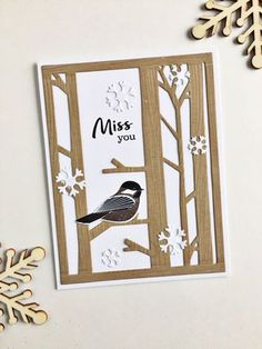 Dana this is what i was talking about tonight by the tree background Miss You Card by Heather Nichols for Papertrey Ink (November Miss You Cards, Bird Cards, Ink Stamps, Scrapbook Cards, Scrapbooking, Winter Cards, Sympathy Cards, Paper Cards, Homemade Cards