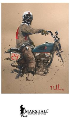 motorcycle art Poster by Daniel Marshall ~ 19 x 13 Motorcycle Posters, Bobber Motorcycle, Carros Lamborghini, Graphisches Design, Illustration, Triumph Motorcycles, Vintage Motorcycles, Bike Art, Automotive Art