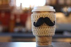 moustach, craft, cups, sleev, crochet project, crochet coffe, coffe cozi, crochet pattern, coffee cozy