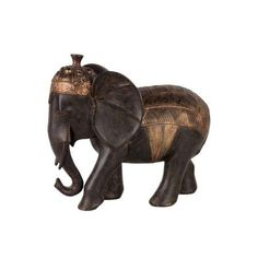 Large Barded Persian War Elephant Figurine Painted Brown-Benzara
