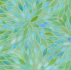 Blue & green custom mosaics by Ann Sacks