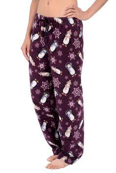 Women's Printed Minky Fleece Pajama Pant With Plus Sizes - Purple - Clothing, Lingerie, Sleep & Lounge, Sleep & Lounge, Bottoms Sleepwear Women, Pajamas Women, Older Women Fashion, Fashion Edgy, 70s Fashion Pictures, Discount Womens Clothing, Thing 1, Fleece Pajamas, Girly Outfits