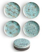 Influenced by the 60's these gorgeous dessert plates are light turquoise with a contemporary 22 karat gold pattern . Made of fine porcelain, these plates are perfect for entertaining. Combine them with the Arabesque mugs for a special dessert and tea after dinner. * Set of 4. 8″ dessert plates with assorted patterns. * Hand …