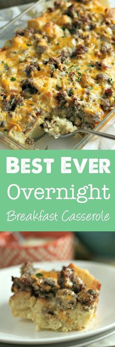 Search no more: this is the BEST overnight breakfast casserole! Using english muffins, sausage and eggs, this is perfect for a crowd! via /DashOfEvans/