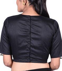 Black Raw Silk Solid peter pan collar Designer Blouse - BL40312 | Indian Silk House Agencies Blouse Designs High Neck, High Neck Blouse, Sleeveless Blouse, Princess Cut Blouse, Designer Blouses Online, Cocktail Wear, Indian Blouse, Dupion Silk, Black Blouse