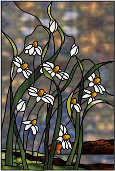 Cornflower Bluff Stained Glass Pattern from Glass Pattern Source (inspiration for shoes) Stained Glass Flowers, Faux Stained Glass, Stained Glass Designs, Stained Glass Panels, Stained Glass Projects, Stained Glass Patterns, Leaded Glass, Mosaic Glass, Glass Painting Designs