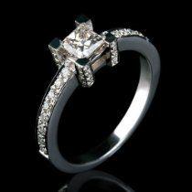 Holyland-1.4CT PRINCESS CUT REAL DIAMOND PROMISE RING 14K W GOLD
