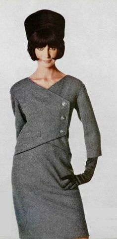 Jacques Esterel 1964 grey wool day dress suit outfit mid 60s structured look vintage fashion style bobbed hair hat glove model magazine designer tweed silver