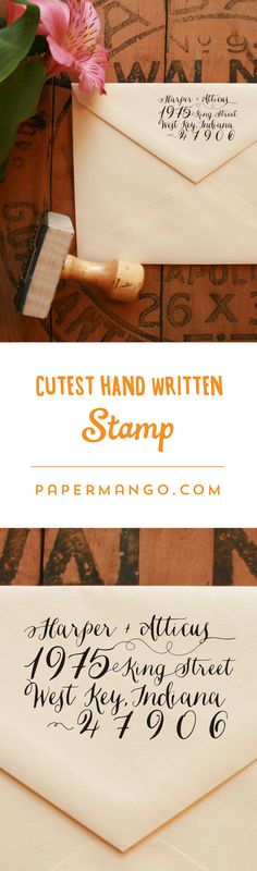 Love the look of calligraphic envelopes, but don't have the budget? This stamp is for you! $27 from Paper Mango #calligraphy #wedding #stamp