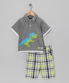 Take a look at this Gray Dinosaur Polo & Shorts - Infant & Toddler by Boys Rock on #zulily today!